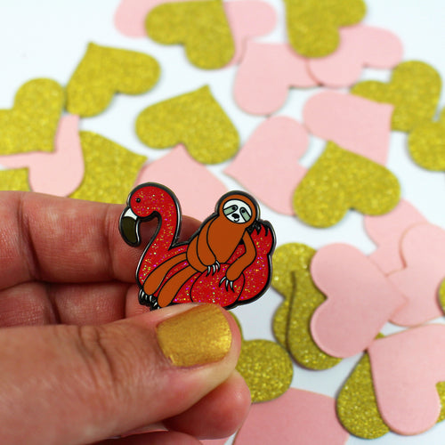 Flamingo Floaty Sloth Enamel Pin