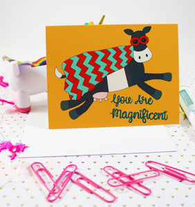 Superhero Cow: You Are Magnificent Blank Greeting Card