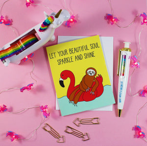 Flamingo Floaty Sloth: Let Your Beautiful Soul Sparkle And Shine Blank Greeting Card