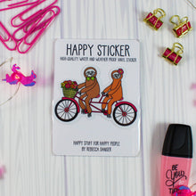 Load image into Gallery viewer, Sloths On Tandem Bicycle Vinyl Sticker: Water and Weather Proof!