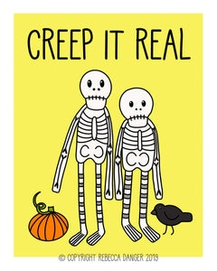 Creep It Real Happy Skeletons Art Print