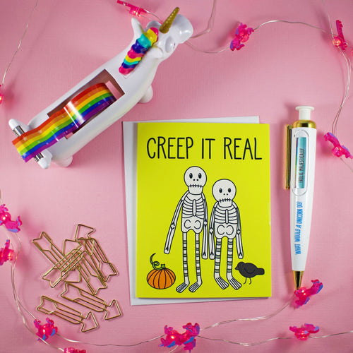Creep It Real Skeletons Blank Greeting Card