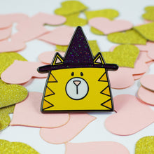 Load image into Gallery viewer, Witch Please Happy Halloween Cat In A Witch Hat Hard Enamel Pin
