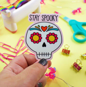 Stay Spooky Happy Halloween Sugar Skull Weather and Water Proof Sticker