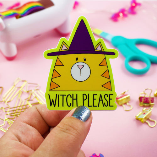 Witch Please Happy Halloween Cat In Witch Hat Weather and Water Proof Vinyl Sticker