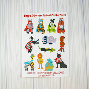Happy Superhero Animals Sticker Sheet