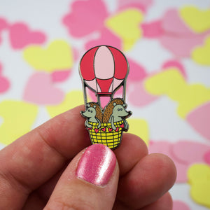 Hot Air Balloon Hedgies in Pink Hard Enamel Pin