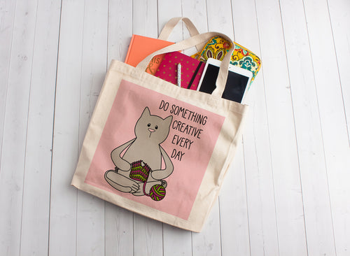 Knitting Cat Linen Like Tote Bag