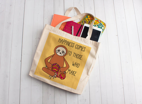Knitting Sloth Linen Like Tote Bag