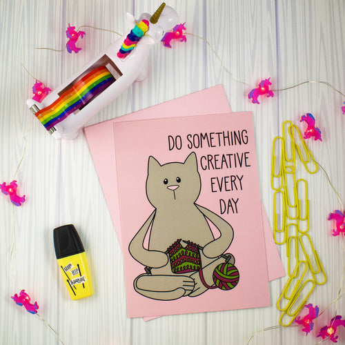 Knitting Cat Mini Art Print Or Notecard