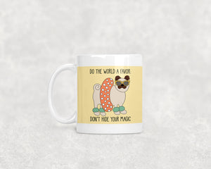 Beach Ready Pug Ceramic 11oz Mug