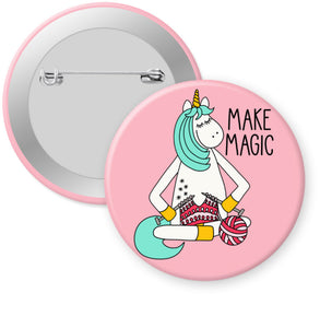 "Knitting Unicorn Badge Button - 2.25"" Pinback or Magnet"