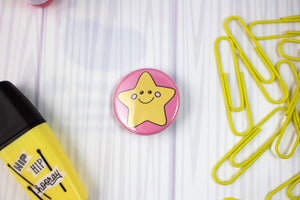 "Small Happy Gold Star Badge Button - 1.25"" Pinback or Magnet"