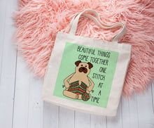 Load image into Gallery viewer, Knitting Pug Linen Like Tote Bag