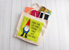 Load image into Gallery viewer, Happy Garden Gnome Linen Like Tote Bag