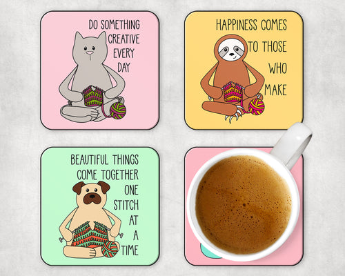 Knitting Animals Coaster 4 Pack