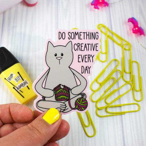 Knitting Cat Vinyl Sticker - Weather and Water Proof!