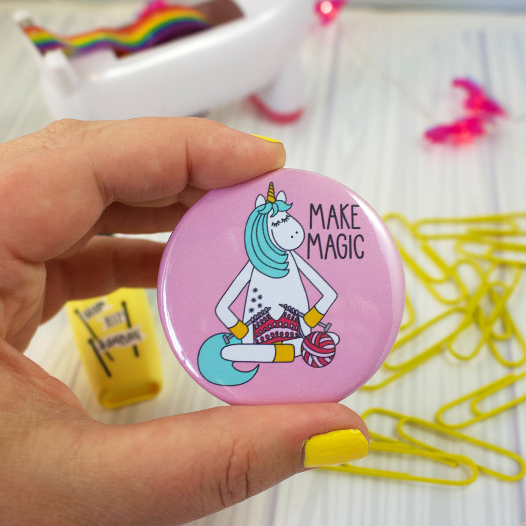 Knitting Unicorn Badge Button - 2.25