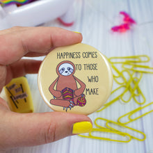 "Load image into Gallery viewer, 2.25"" Knitting Sloth Badge Button - Pinback or Magnet"