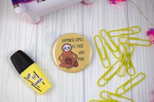 "2.25"" Knitting Sloth Badge Button - Pinback or Magnet"