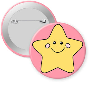 "2.25"" Happy Gold Star Badge Button - Pinback or Magnet"