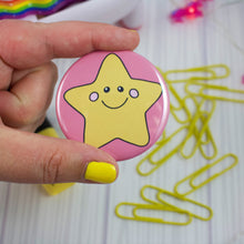 "Load image into Gallery viewer, 2.25"" Happy Gold Star Badge Button - Pinback or Magnet"