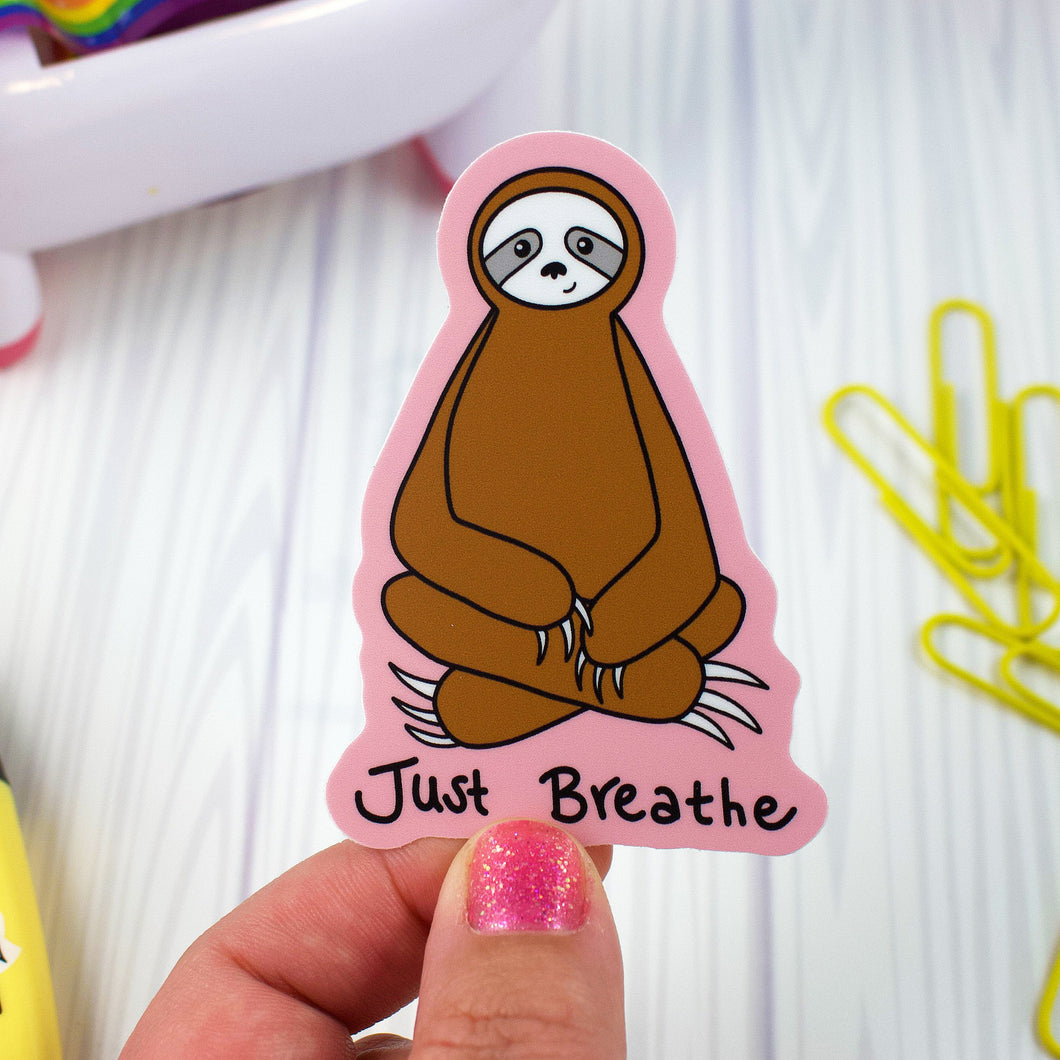 Just Breathe Meditating Sloth - Weather and Water Proof Vinyl Sticker