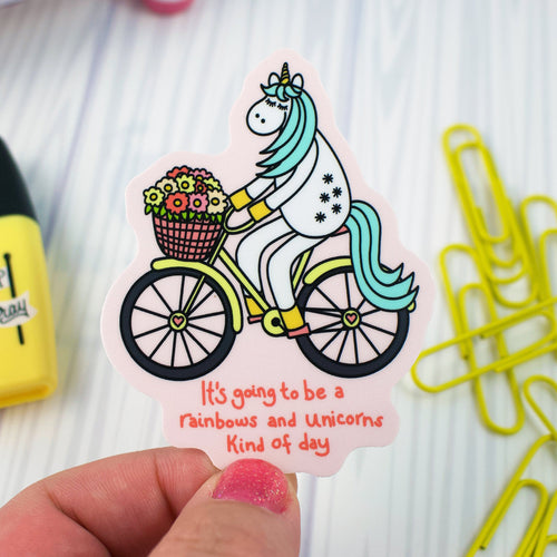 Happy (E)Mail Shop: It's Going To Be A Rainbows And Unicorns Kind Of Day With Bike Riding Unicorn Weather and Water Proof Vinyl Sticker