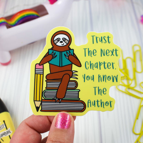 Reading Sloth - Weather and Water Proof Vinyl Sticker