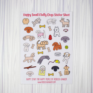 Happy Small Fluffy Dogs Sticker Sheet