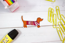 Load image into Gallery viewer, Sweater Dachshund Dog Sticker  - Water And Weather Proof!