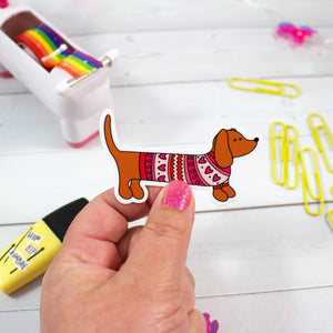 Sweater Dachshund Dog Sticker  - Water And Weather Proof!