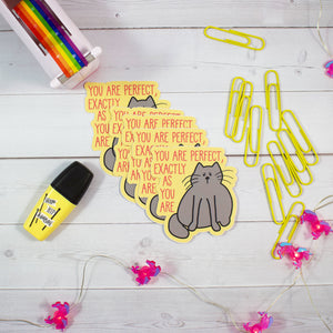You Are Perfect Exactly As You Are Cat Vinyl Sticker  - Water And Weather Proof!