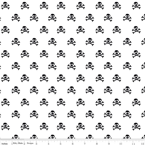 Riley Blake - Military Max - Skulls - White