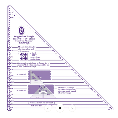 Diagonal Set Triangle Ruler - Large - Marti Michell