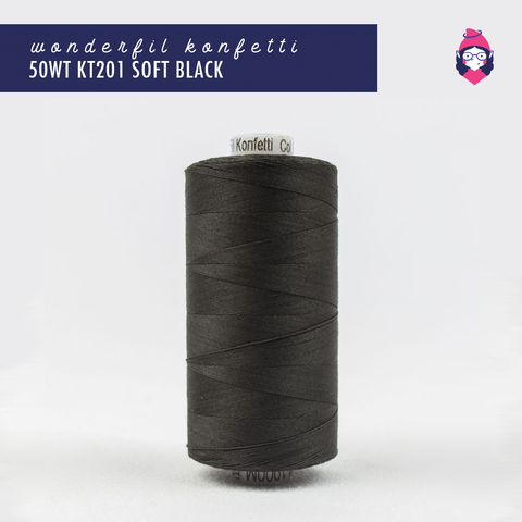 Wonderfil - Konfetti - 50wt - KT201 Soft Black