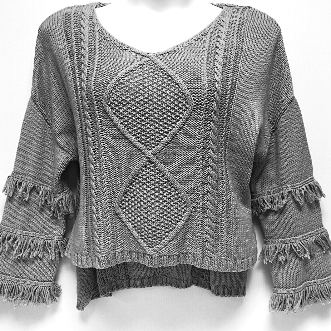 Gray Sweater with Fringe Sz M