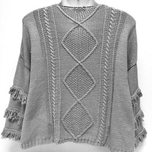 Load image into Gallery viewer, Gray Sweater with Fringe Sz M