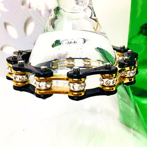 Bracelet, Silver/Gold/Rhinestone with Black