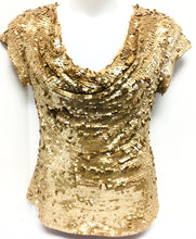 Load image into Gallery viewer, I-N-C Gold Sequined Top, Size XL