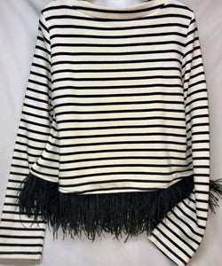 Sugar+Lips Long Sleeve Top with feather hem, Size Medium