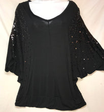 Load image into Gallery viewer, Kische Dolman Sleeve Top, Black with Sequins, Size Large