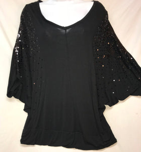 Kische Dolman Sleeve Top, Black with Sequins, Size Large