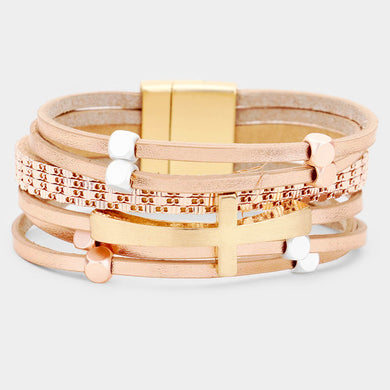 Faux Leather Cross Metal Magnetic Bracelet