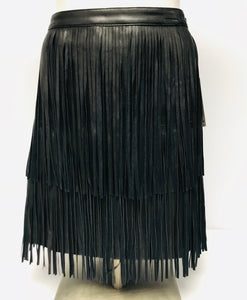 New with Tags A New Approach Faux Leather Fringe Skirt, Size Medium