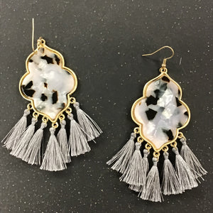 Cellulose and Tassel Earring