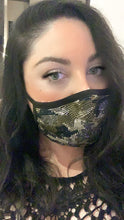 Load image into Gallery viewer, camouflage sparkly corona virus sparkle mask with crystals, sparkly pretty mask with crystals, bling mask crystal, crystal mask, nude mask, red mask, black mask with crystals, crystal mask, white mask crystals, pink mask crystals, pink crystal mask, black crystal mask, crystal mask nude sparkle mask
