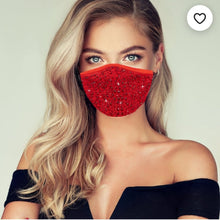Load image into Gallery viewer, Red Corona virus mask with crystals, sparkly pretty mask with crystals, bling mask crystal, crystal mask, nude mask, red mask, black mask with crystals, crystal mask, white mask crystals, pink mask crystals, pink crystal mask, black crystal mask, crystal mask nude sparkle mask