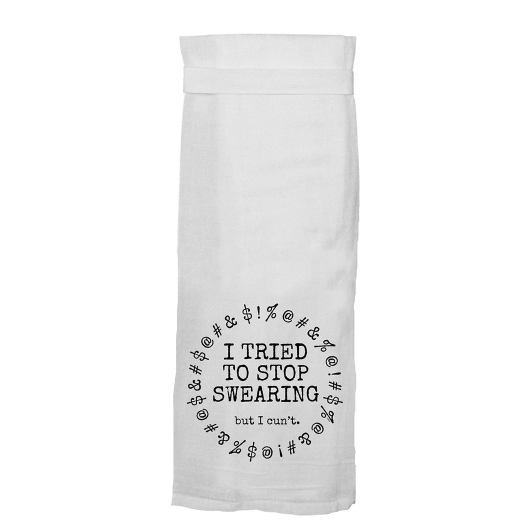TWISTED WARES 'I TRIED TO STOP SWEARING BUT I CUN'T' FLOUR TOWEL