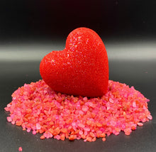 Load image into Gallery viewer, wholesale bath bomb red heart, red bath bomb heart, red bath water, Lovers bath bomb heart, wholesale big bath bomb, Heart bath bombs, heart bath bombs bulk, bulk heart bath bombs, bath bomb heart, love bath bomb, valentine, bathroom decorations, bachelorette wedding gift, made in USA, bath bomb hearts valentines